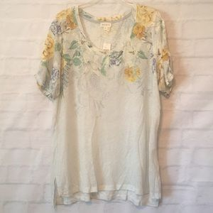Anthropologie Meadow Rue floral linen top T-shirt